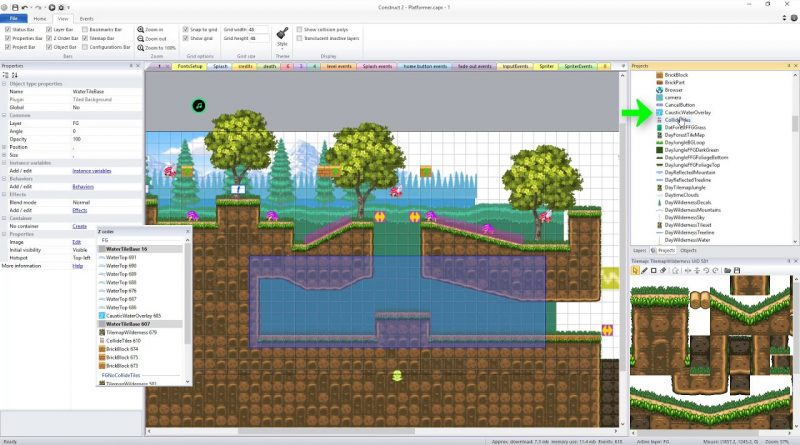 Basic Platformer Game Engine for Construct 2/3: Adding Water to game levels