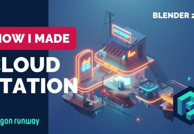 Cloud Station in Blender 2.8 - Low Poly 3D Modeling Timelapse Tutorial