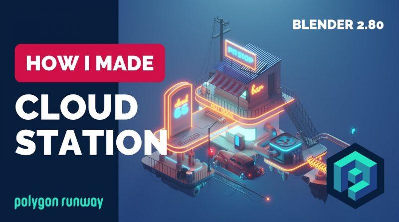 Cloud Station in Blender 2.8 - Low Poly 3D Modeling Timelapse Tutorial