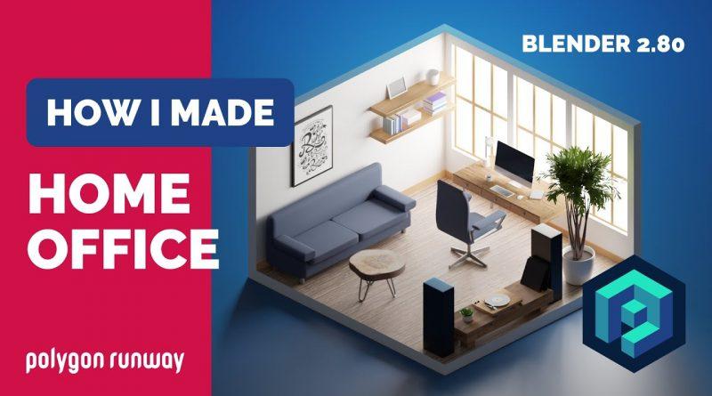 Home Office in Blender 2.8 - 3D Modeling Timelapse Tutorial