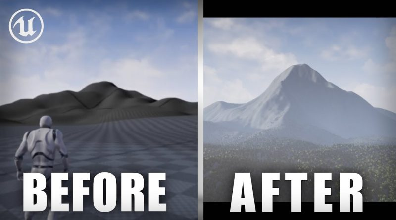 UE4 Landscape Tutorial - How to make REALISTIC MOUNTAINS!  Unreal Engine 4 Level Design