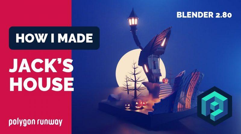 Jack Skellington's House in Blender 2.8 - Low Poly 3D Modeling Timelapse Tutorial