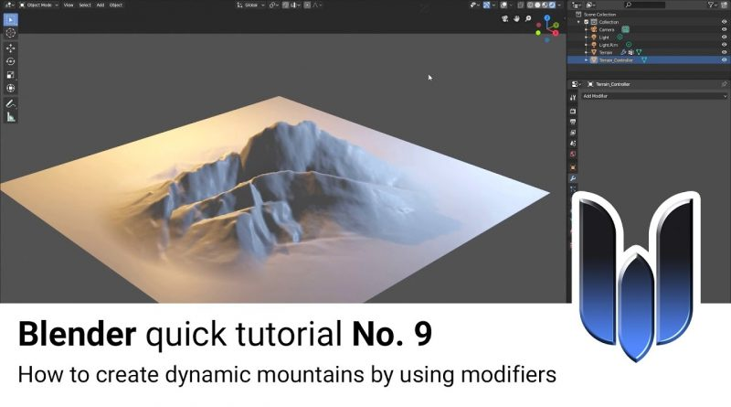Blender quick tutorial No. 9: How to create dynamic Mountains in Blender based on Modifiers
