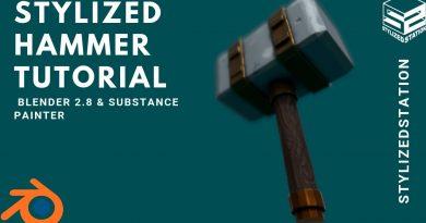 SPEED TUTORIAL:  Stylized Weapon in Blender & Substance Painter [Model/Sculpt/Paint]