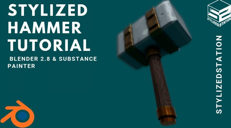 SPEED TUTORIAL:  Stylized Weapon in Blender & Substance Painter [Model/Sculpt/Paint]