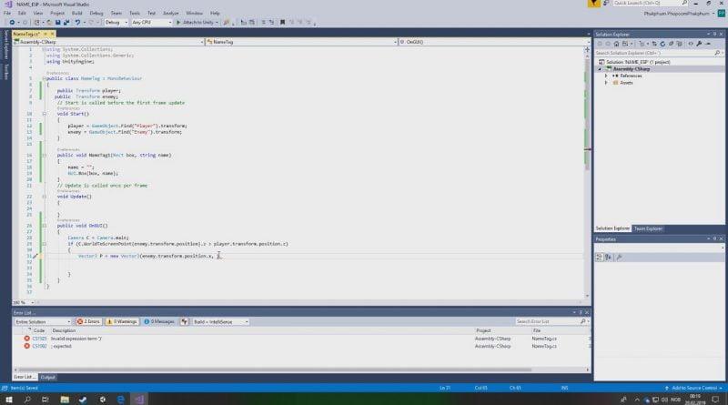 [Unity tutorial] Show name tag through Wall Ep. 1