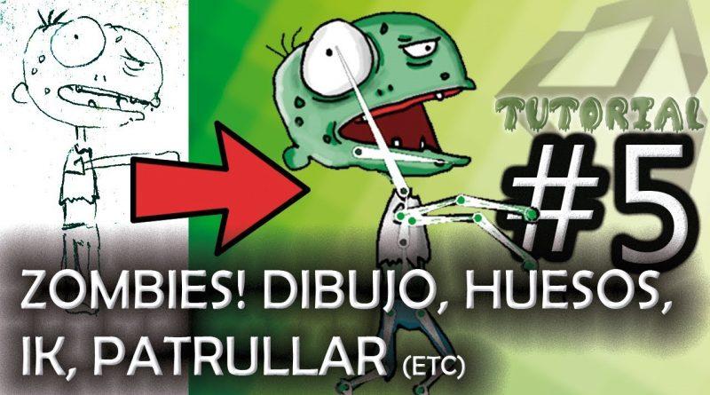 #5: Los zombies! (dibujar, huesos, IK, caminar, patrullar una zona) [Unity, tutorial completo]