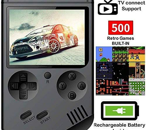 MJKJ Handheld Game Console , Retro FC Game Console 3 Inch Screen 500 Classic Games TV Output Game Player with 1PCS Joystick , Birthday Present for Children - Black
