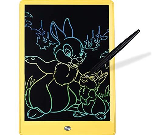 Writing Tablet 10 inch LCD Colorful Screen Drawing Tablet, Doodle Board and Writing Pads for Kids (Yellow)
