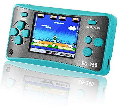 Easegmer Handheld Game Console for Kids Adults, EG-250 Retro Portable Video Games Console, Built-in 200 Games 12 Bit 2.5 Inch LCD Arcade Gaming Family Games Player, Best Gift for Boys Girls-Turquoise