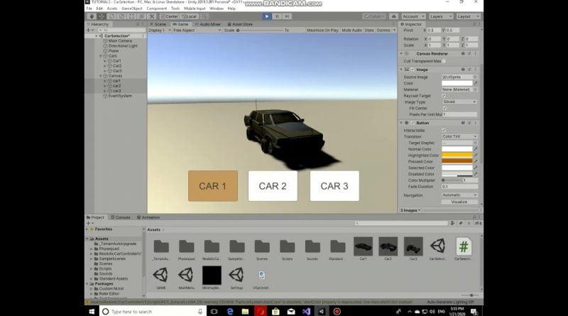 Unity Creating a car Selecting Menu (Part 1)