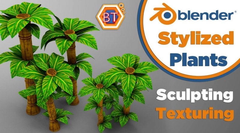 Blender Tutorial - Low Poly Modeling | Stylized Plants | Sculpting With Textures