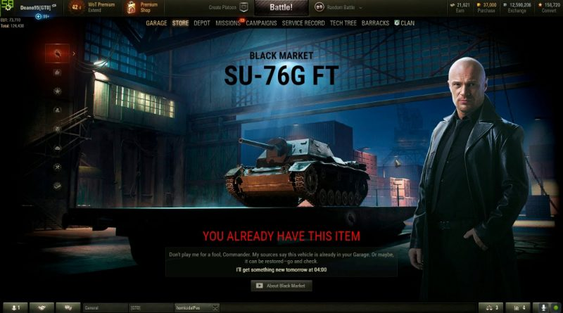 WoT WG messed up the SU76I sale (black market)