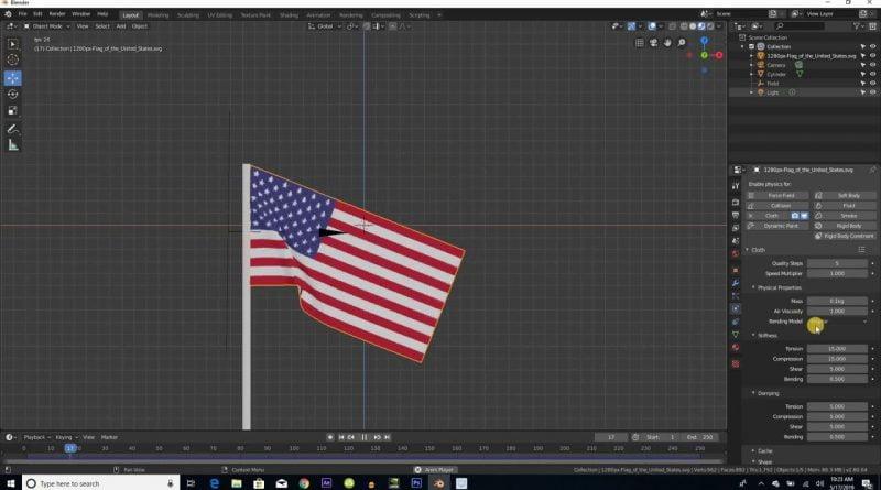Blender 2.81:  Flag Tutorial | Cloth Simulation | Force Field | EEVEE Render Engine