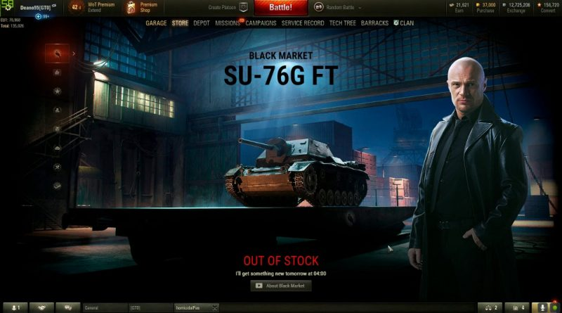 WoT SU 76I 15k Gold... (black market)