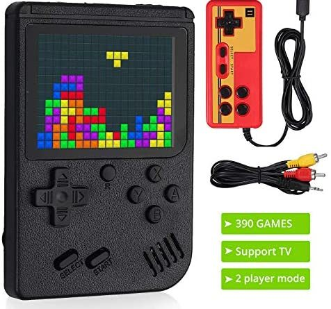 LiNKFOR Handheld Game Console, 390 Classic Games 3 Inch LCD Screen Portable Retro Video Game Console Support for Connecting TV and Two Players Black