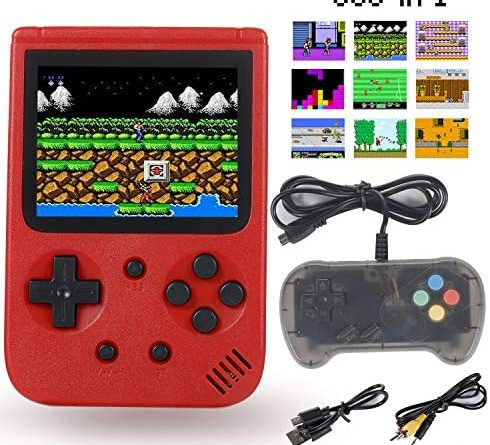 Sefitopher Mini Retro Handheld Game Console Retro Console 500 Classic Games with 3 Inch LCD Screen Support TV Connection and Simultaneous Playing Two Players Good Present for Kids Adults (Red)