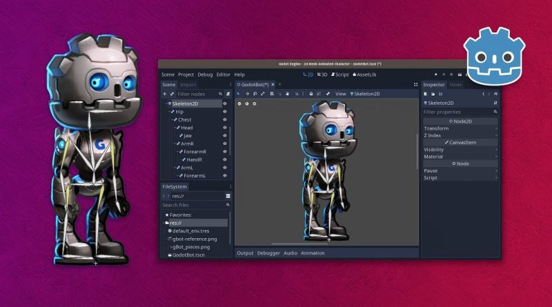 2d Mesh Deform and Rigging in Godot 3.1: Skeleton2D and Bone2D tutorial 1