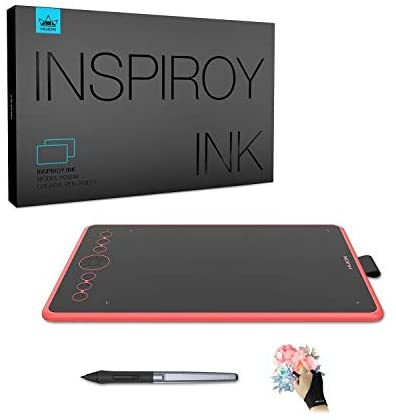 Huion Inspiroy Ink H320M Drawing Tablet 10 x 6 Inch Dual-Purpose LCD Writing Tablet, 11 Press Keys, Android Supported, Sleeve Bag Included, Ideal Use for Distance Education & Wed Conference,Coral Red