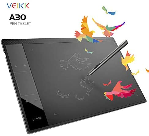Drawing Tablet VEIKK A30 Graphic Pen Tablet with Gesture Touch Pad,4 hotkeys, 10x6 inch Working Area Battery-Free Stylus