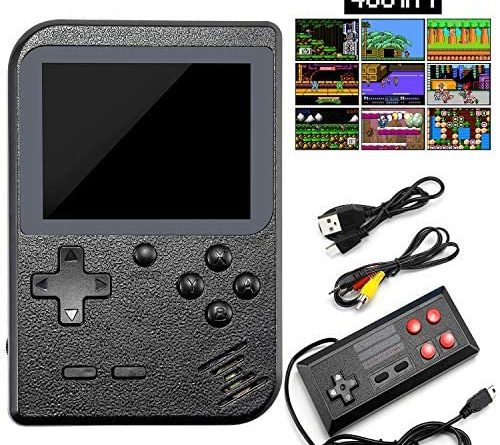 PAKESI Retro Game Console,Mini Handheld Game Console with 400 Classical FC Games,One Gamepad,Can Connecting TV(800mAh Black)