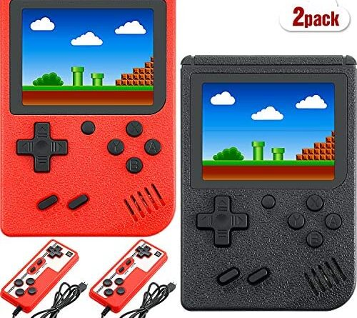 2 Pieces Handheld Game Consoles with 3 Inch LCD Screen, Built in 400 Classic Games and Rechargeable Battery for Boys Girls Men Women, Support TV Connection and Two Players