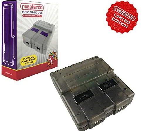 Rasptendo SNES Classic Inspired Raspberry Pi 3 B/B Plus Case | Retro Gaming Arcade Console Emulator with Functional Power Switch, Reset, and Safe Shutdown (Black)