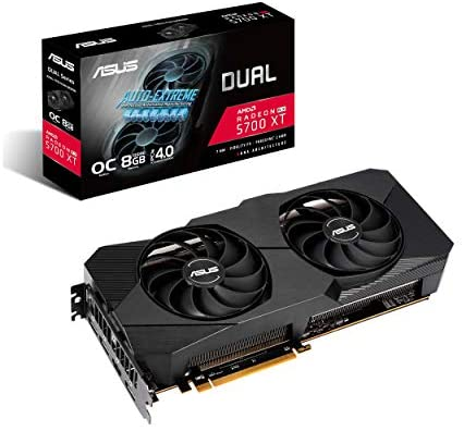 ASUS DUAL AMD Radeon RX 5700 XT EVO OC Edition Gaming Graphics Card (PCIe 4.0, 8GB GDDR6 memory, HDMI, DisplayPort, 1440p Gaming, Axial-tech Fan Design, Auto-Extreme, metal backplate) (DUAL-RX5700XT-O