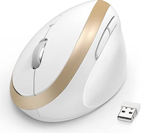 Wireless Vertical Mouse, Jelly Comb Wireless Mouse 2.4G High Precision Ergonomic Optical Mice 【 for Small Hands 】 (White and Gold)