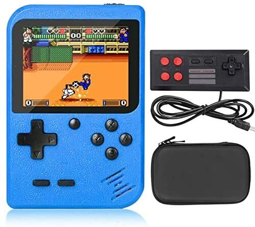 VOUM Handheld Game Console,Retro Handheld Game Console with Protector Case, 400 Free Classical FC Games Support for Connecting TV & Two Players, Great Gifts for Kids and Adults(Blue)