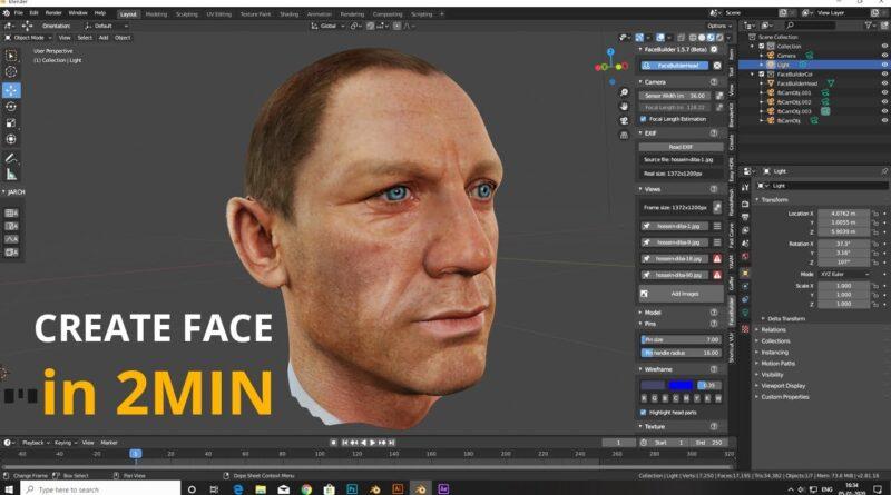 Create Face Within 2min || FaceBuilder || KeenTools || BLENDER 2.8 Tutorial