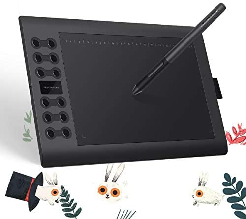 GAOMON M106K PRO 10x6.25 Inches Tilt Supported Passive Pen with 8192 Levels Pressure 12 Express Keys+16 Soft Keys Graphics Drawing Tablet