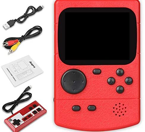 Anpro Handheld Game Console, Retro Mini Game Player with with 500 Classic Games, Double Players, Support Connect TV Mode, Support 800mAh Rechargeable Battery