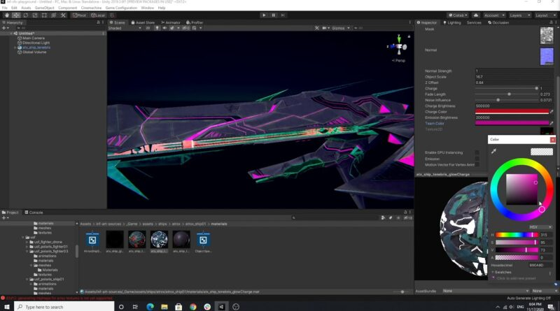 Game Development - Atrox Ship Glow Shader Demo