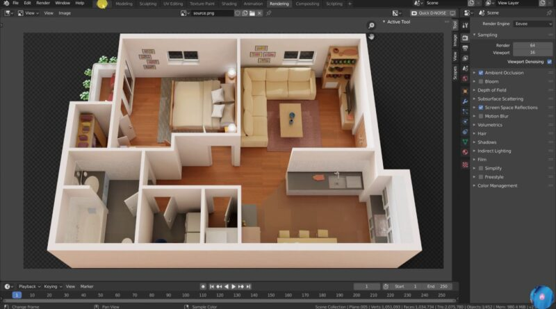 How to make 3d floor plan in Blender   Best method (Modeling)