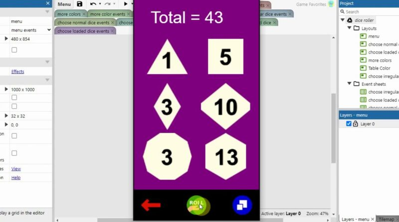 dice roller app (Android) - made in Construct 3