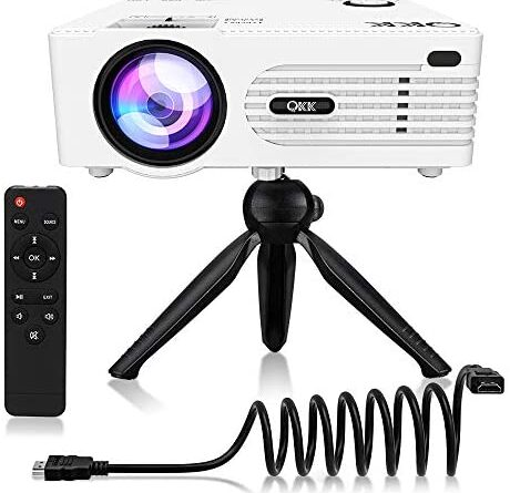 """Mini Projector, [Tripod Included] QKK Upgrade Projector for Outdoor Movies 200"""" Display Full HD 1080P Supported Portable Projector, Compatible with Phones, TV Stick, PS4, HDMI, AV, Soundbar, Dual USB"""