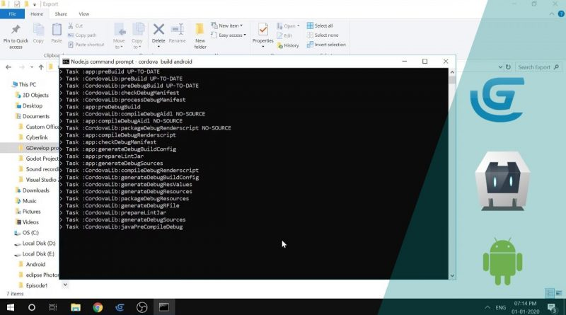 Gdevelop Mannual Android Export (Offline) using cordova