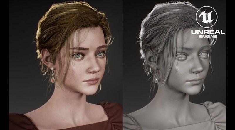 Character model timelapse for UE4 Real-time Digital Girl