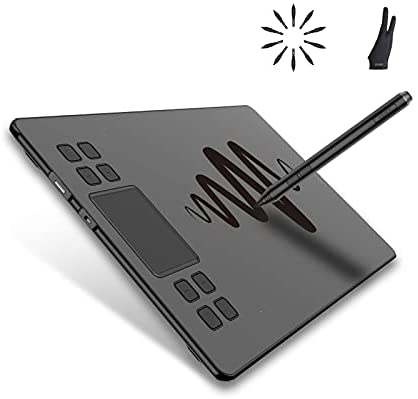 VEIKK A50 Computer Graphics Tablets, 10x6 Inch Drawing Tablet with Smart Gesture Touch Pad & 8 Shortcut Keys, Work on PC/Mac/Android OS for Writing, Painting, Sketch & Online Teaching